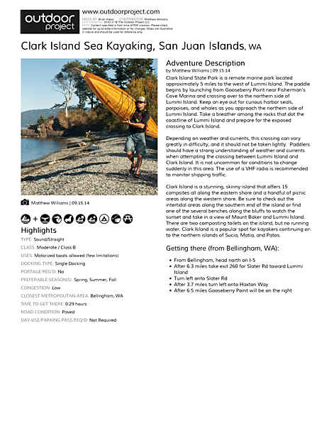 Clark Island Sea Kayaking Field Guide