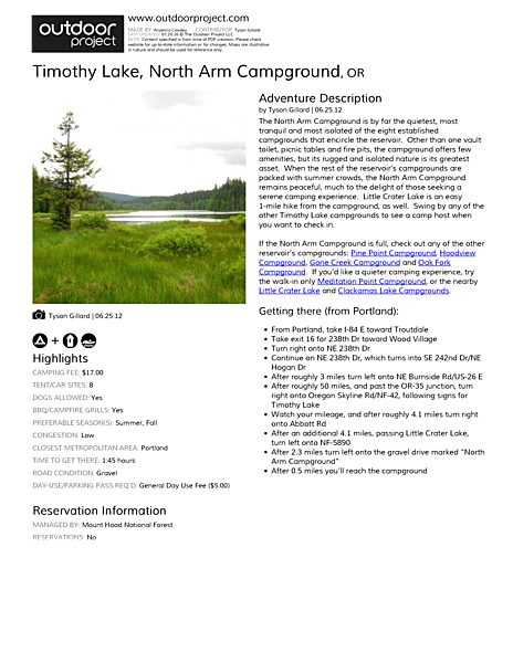 Timothy Lake, North Arm Campground Field Guide