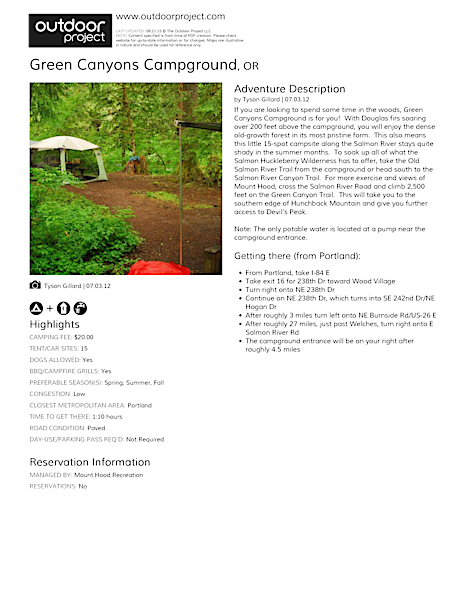 Green Canyons Campground Field Guide