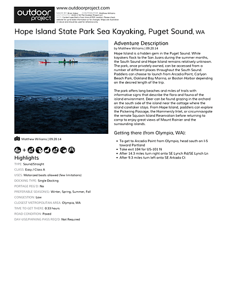 Hope Island State Park Sea Kayaking Field Guide