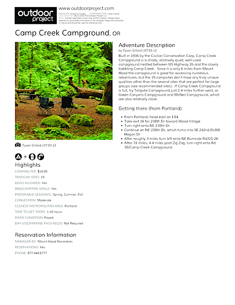 Camp Creek Campground Field Guide