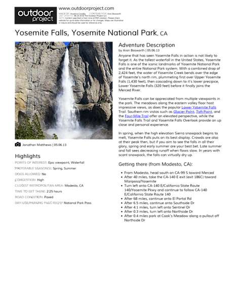 Yosemite Falls Field Guide
