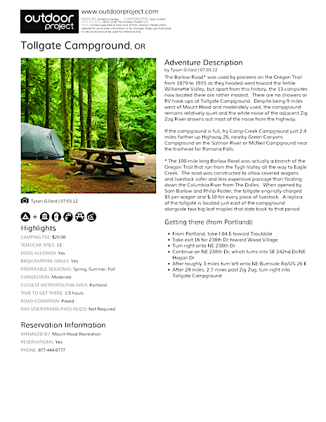 Tollgate Campground Field Guide
