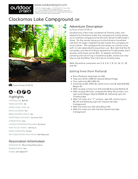 Clackamas Lake Campground Field Guide
