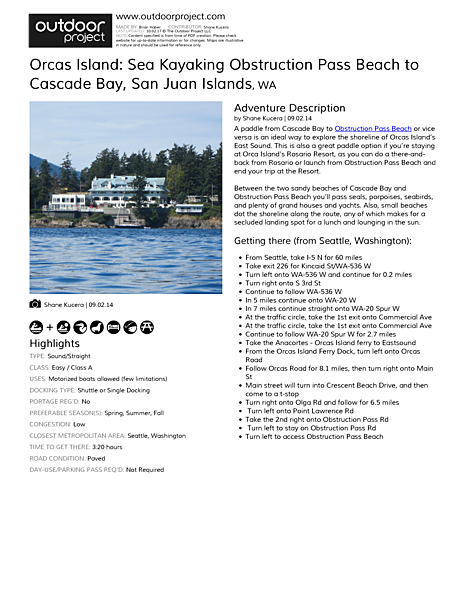 Orcas Island: Sea Kayaking Obstruction Pass Beach to Cascade Bay Field Guide