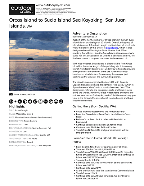 Orcas Island to Sucia Island Sea Kayaking Field Guide