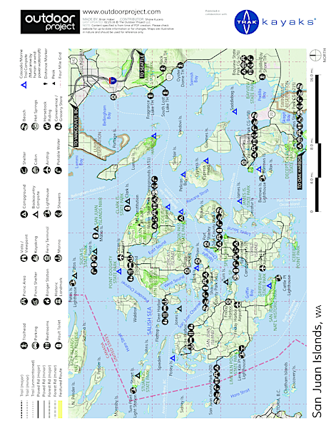 Orcas Island to Sucia Island Sea Kayaking Map
