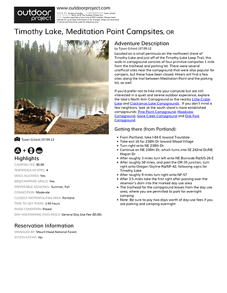 Timothy Lake, Meditation Point Campsites Field Guide