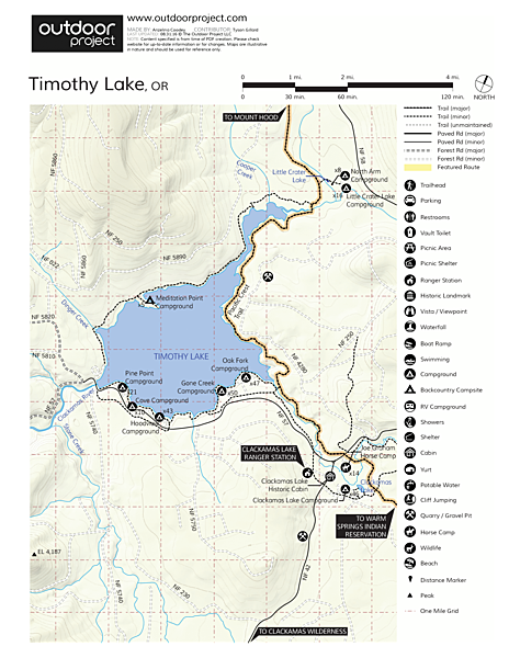 Timothy Lake, Meditation Point Campsites Map