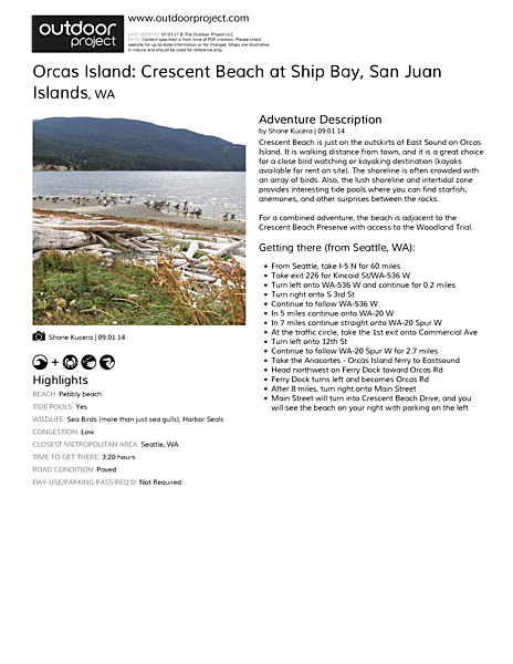 Orcas Island: Crescent Beach at Ship Bay Field Guide