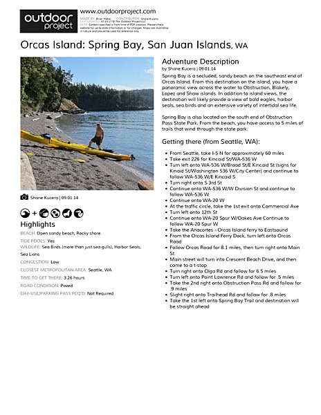 Orcas Island: Spring Bay Field Guide