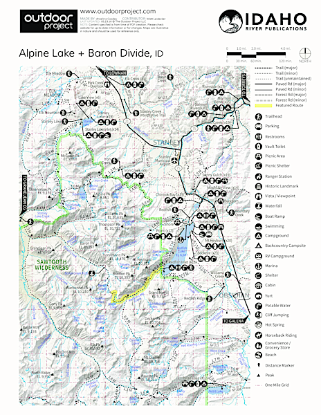 Alpine Lake + Baron Divide Trail Map