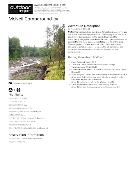 McNeil Campground Field Guide