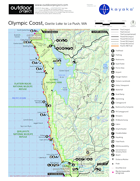 Ozette Lake Sea Kayaking Map