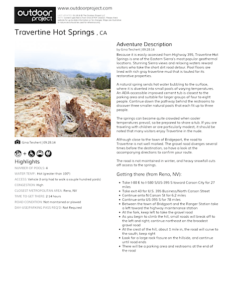 Travertine Hot Springs  Field Guide