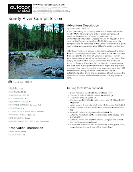 Sandy River Campsites Field Guide