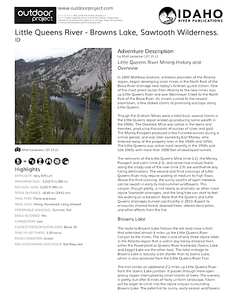 Little Queens River - Browns Lake Field Guide