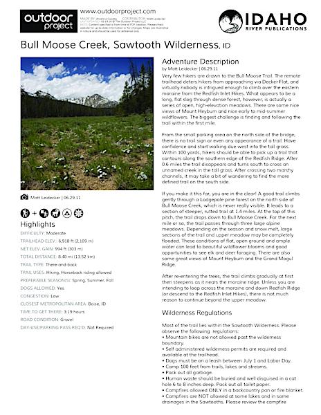 Bull Moose Creek Field Guide