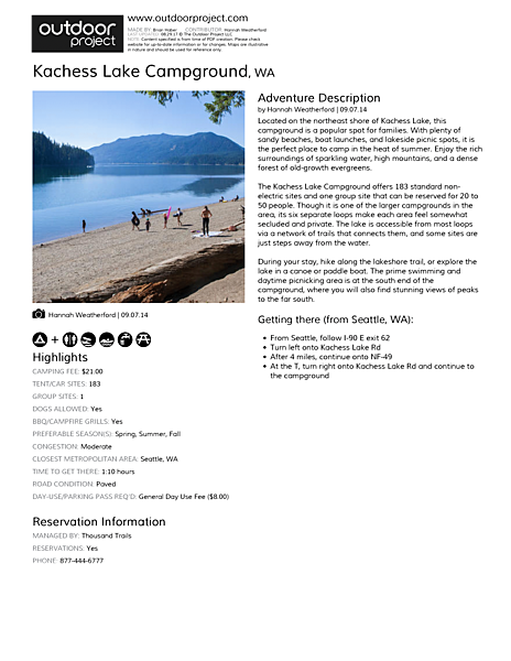 Kachess Lake Campground Field Guide