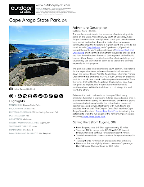 Cape Arago State Park Field Guide