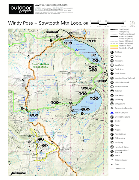 Windy Pass + Sawtooth Mountain Loop Map