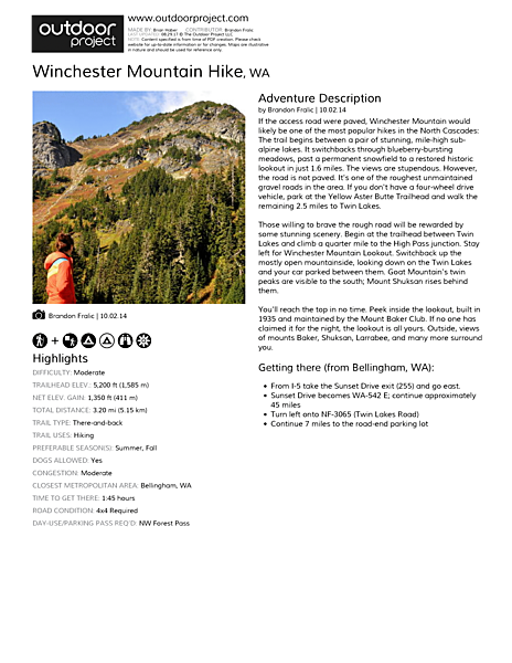 Winchester Mountain Hike Field Guide