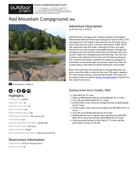 Red Mountain Campground Field Guide
