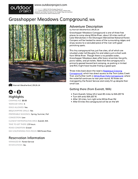 Grasshopper Meadows Campground Field Guide