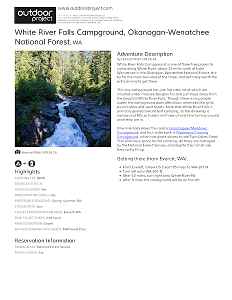 White River Falls Campground Field Guide