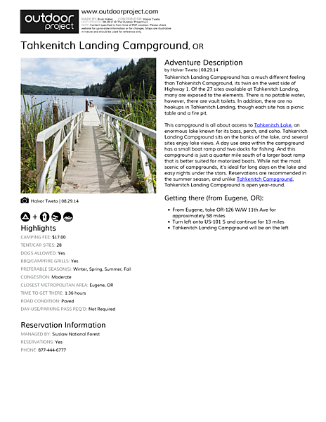 Tahkenitch Landing Campground Field Guide