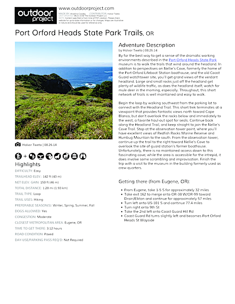 Port Orford Heads State Park Trails Field Guide