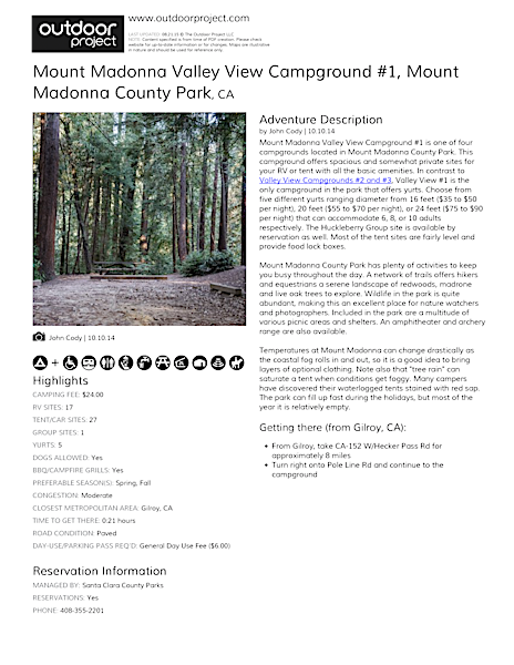 Mount Madonna Valley View Campground #1 Field Guide