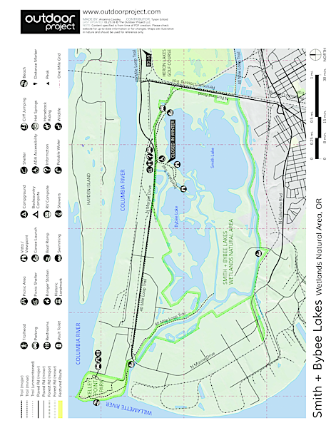 Smith + Bybee Lakes Canoe/Kayak Map