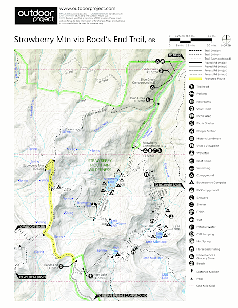 Strawberry Mountain via Roads End Trail Trail Map