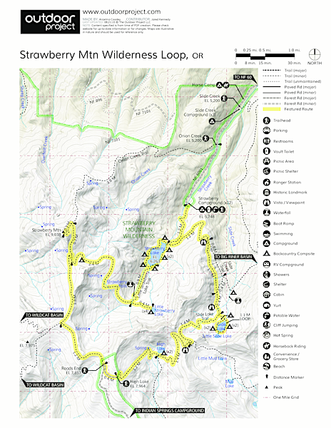 Strawberry Mountain Wilderness Loop Trail Map