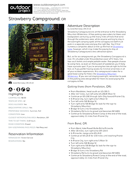 Strawberry Campground Field Guide