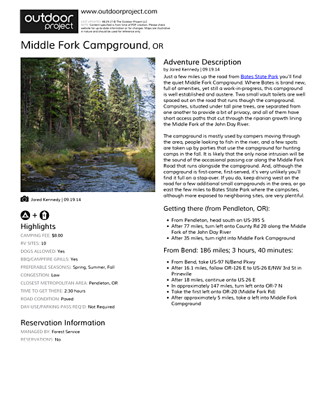 Middle Fork Campground Field Guide