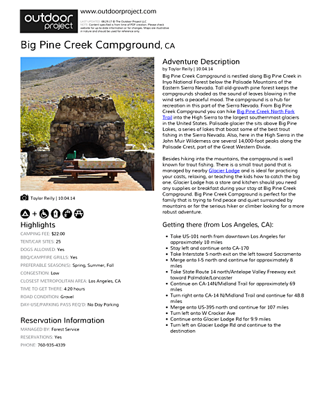 Big Pine Creek Campground Field Guide