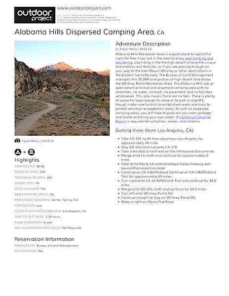 Alabama Hills Dispersed Camping Area Field Guide