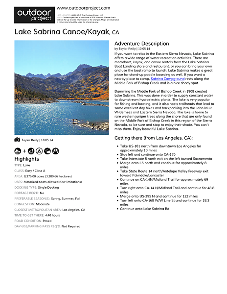 Lake Sabrina Canoe/Kayak Field Guide
