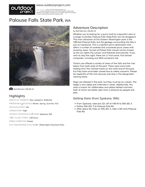 Palouse Falls State Park Field Guide