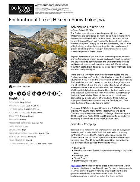 Enchantment Lakes Hike via Snow Lakes | Outdoor Project