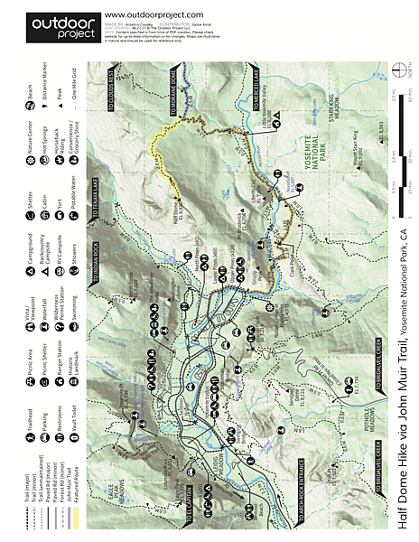 Half Dome Hike via John Muir Trail Trail Map