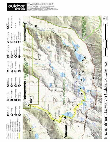Enchantment Lakes Leavenworth Washington Trails ~ Enchantments Trail Map