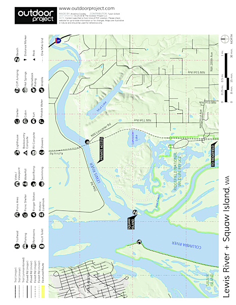 Lewis River + Squaw Island Canoe/Kayak Map