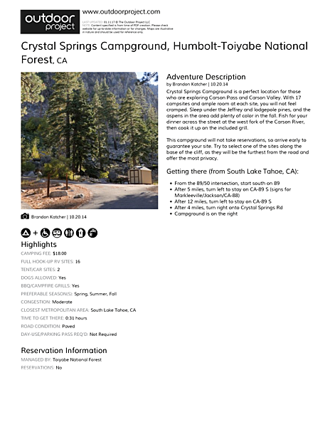 Crystal Springs Campground Field Guide