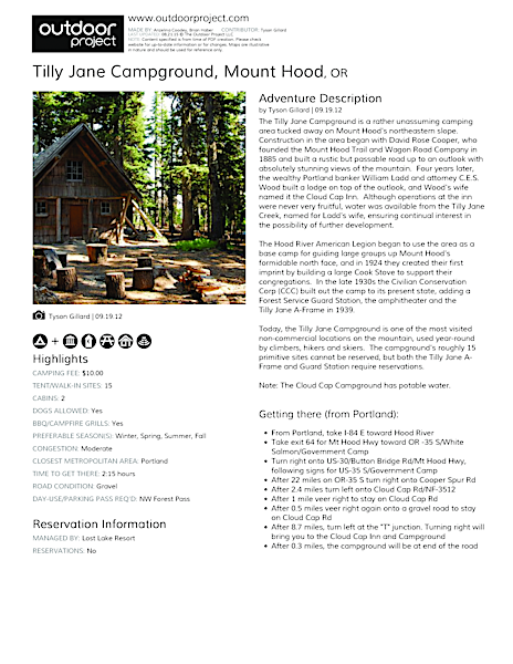 Tilly Jane Campground Field Guide