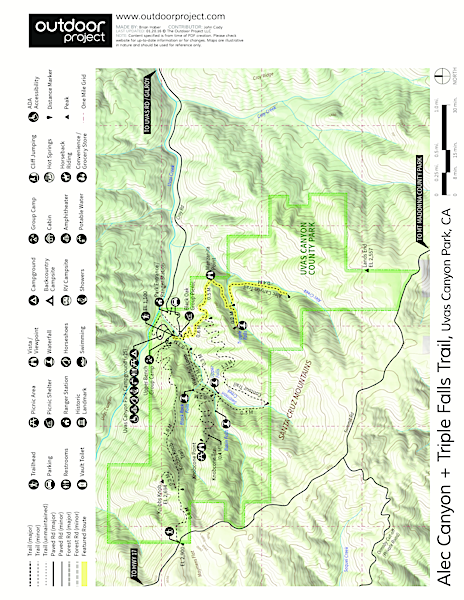 Alec Canyon + Triple Falls Trail Trail Map
