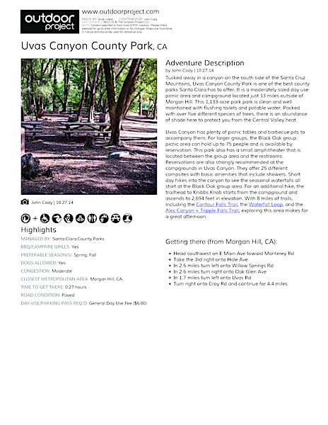 Uvas Canyon County Park Field Guide