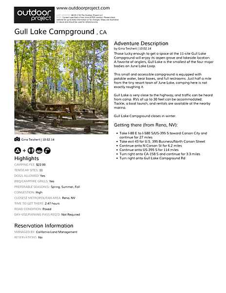 Gull Lake Campground  Field Guide